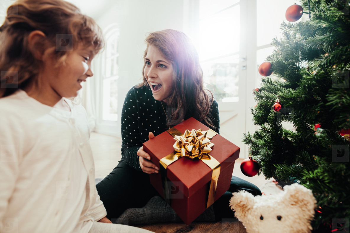 Mother presenting Christmas gift to daughter