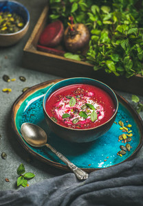 Beetroot soup with mint  chia  flax and pumpkin seeds