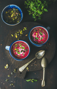 Detox beetroot soup with mint pistachio chia flax pumpkin seeds