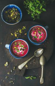 Detox beetroot soup with mint pistachio chia flax pumpkin seeds