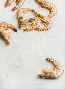 Raw uncooked tiger prawns on chipped ice over grey background