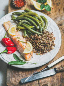 Roasted salmon with multicolored quinoa  chilli pepper and poached beans