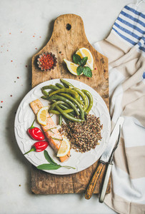 Roasted salmon with multicolored quinoa pepper and poached green beans