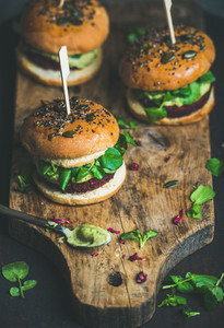 Healthy vegan burger with beetroot quinoa patty  copy space