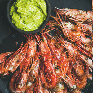 Roasted red shrimps with guacamole avocado sauce  square crop