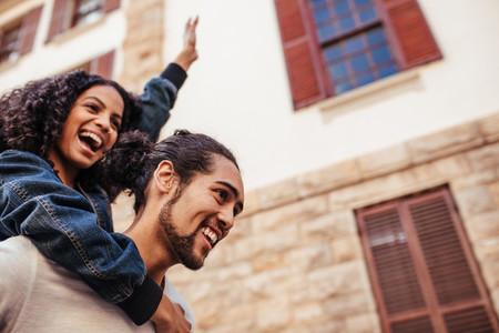 Couple in joyful mood enjoying outdoors