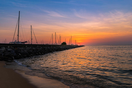 Beautiful Sunset over the sea on Pattaya Thailand