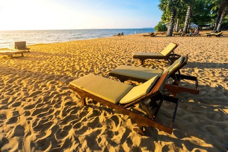 Beach chair on the sand at Pattaya Thailand
