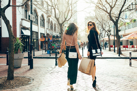 Female shoppers walking on the city street with shopping bags