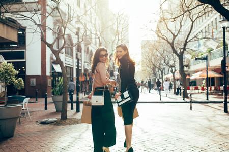 Shopaholics walk around the city