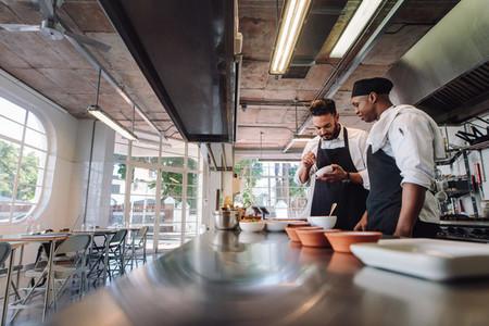 Professional chefs working at restaurant kitchen