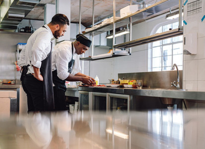 Chefs cooking food in commercial kitchen