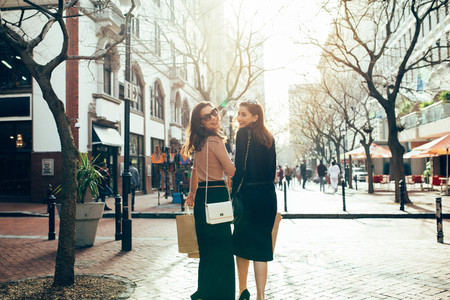 Female friends out for shopping in the city