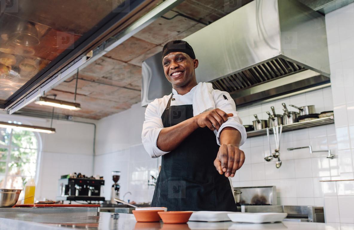 Gourmet chef in a restaurant kitchen