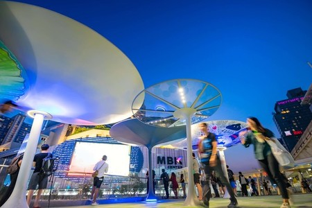 BANGKOK  THAILAND   SEPTEMBER 29  MBK sky walk in night time Wal
