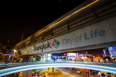 BANGKOK  THAILAND   SEPTEMBER 29 MBK sky walk in night time Wal