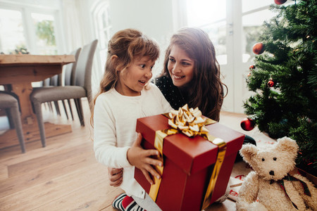 Mother giving Christmas gift to her child
