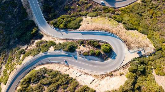 Aerial view of a road curve