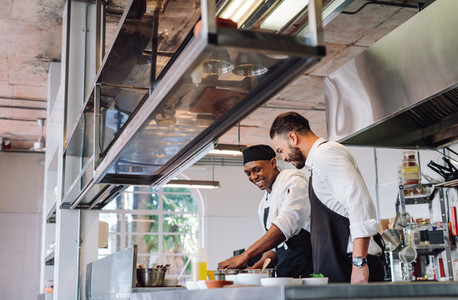 Two cooks preparing food in restaurant kitchen