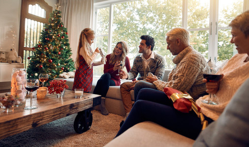 Family at home celebrating christmas together