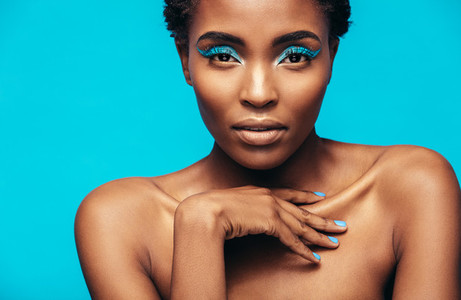 Sensual african woman wearing vivid makeup