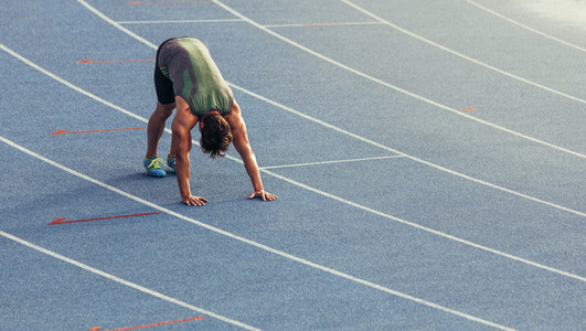 Sprinter warming up on the track