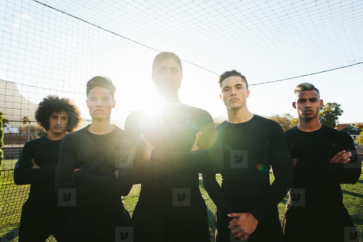 Five a side soccer team on field