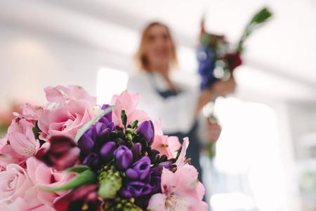 Beautiful flower bouquet in garden center