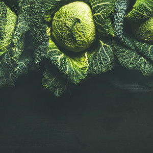 Raw fresh uncooked green cabbage over black background
