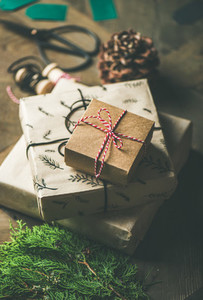Gift boxes  rope  fur branches  scissors  selective focus