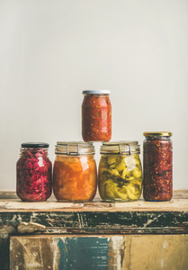 Autumn seasonal pickled or fermented colorful vegetables  copy space