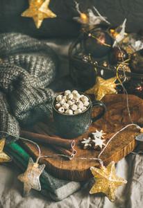 Christmas winter hot chocolate with marshmellows and cinnamon sticks