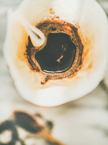 Top view of coffee brewed in alternative coffee maker