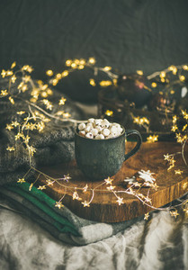 Christmas or New Year winter hot chocolate with marshmallows