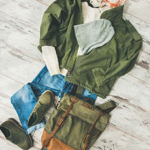 Flat lay of Fall lady039  s clothes outfit  square crop
