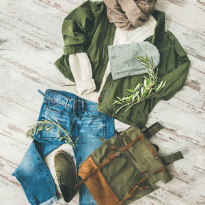 Flat lay of Fall lady039  s outfit on parquet  square crop