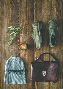 Flat lay of woman039s fall accessories and coffee copy space