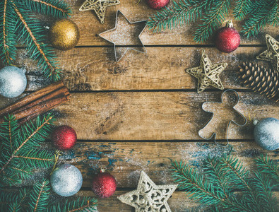 Christmas or New Year holiday decoration flatlay over rustic background
