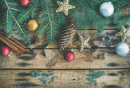 Christmas or New Year holiday flat lay with fir tree branches