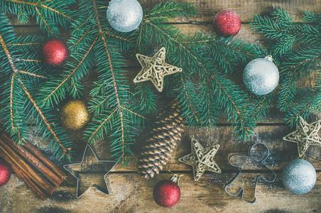 Christmas or New Year holiday flat lay