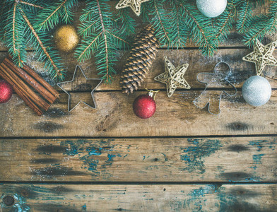 Christmas  New Year holiday flat lay over wooden background  copy space