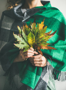 Woman in check scarf or blanket with Autumn leaves