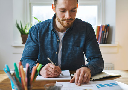 Man checking notes at home office