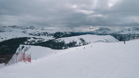 Ski slopes in Dolomites  Italy