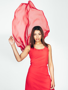 Beautiful woman in red dress