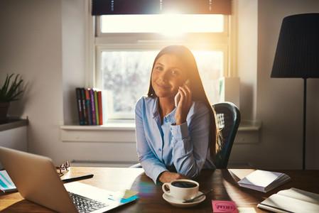 Female entrepreneur talking on the phone