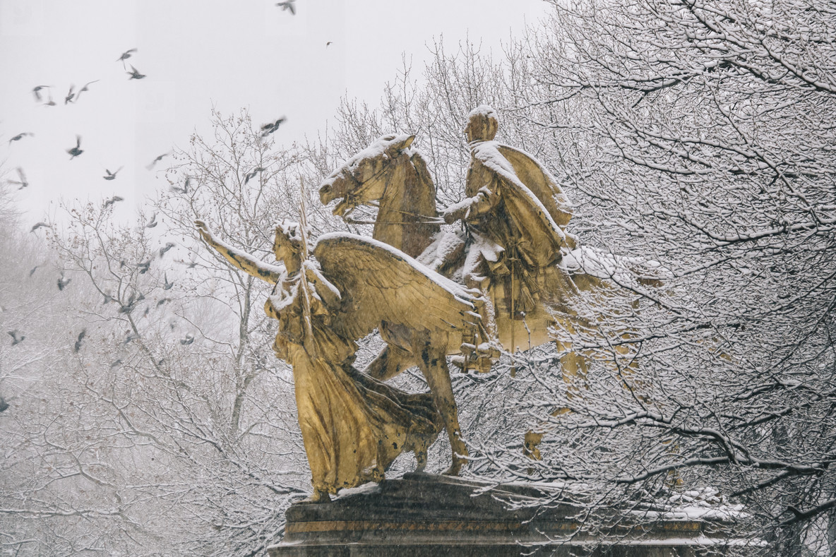 Snowing in the city New York