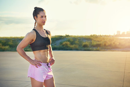 Toned healthy athletic young woman