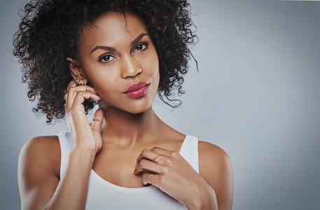Closeup of beautiful black woman