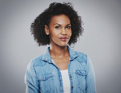 Beautiful black woman with blue jean shirt